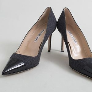 MANOLOI BLAHNIK BB Grey Wool Pointed Pumps Heels